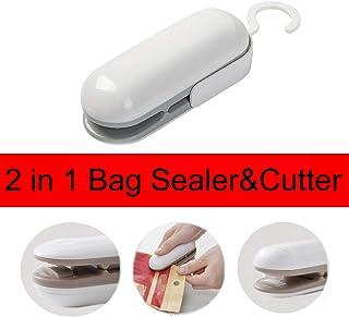 Mini Bag Sealer, 2 in 1 Heat Vacuum Sealer, Heat Sealer and Cutter Handheld Portable Bag Resealer Sealer for Plastic Bags Food Storage Snack Fresh Bag Sealer (Style 1)
