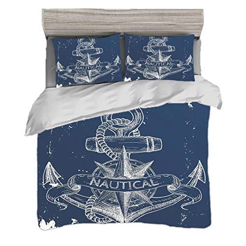 Bettwäscheset (200 x 200 cm) mit 2 Kissenbezügen Marine Digitaldruck Bettwäsche Seeknoten-Kompass-Anker-Muster-Seeweltozean-Leben-Schmutz-Illustration, dunkelblaues Weiß Pflegeleicht antiallergisch we