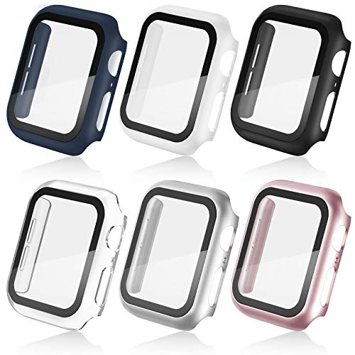 6 Pack Apple Watch Case for iWatch 42mm Series 3/2/1 with HD Tempered Glass Screen Protector, Full Coverage Hard PC Frame Cover Ultra-Thin Protective Case Scratch-Resistant Bumper Guard for Women Men