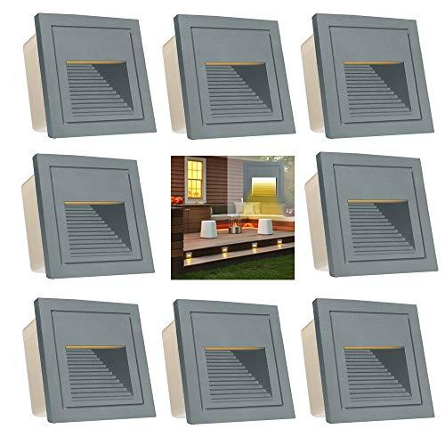 Arotelicht 8er Set 3W LED Treppenleuchte Treppenlicht Treppenbeleuchtung, Wandleuchte aussen Wandeinbauleuchte 230V Mauer Beleuchtung Lampe Alu warmweiß 3000K IP65, Grau, inkl. Dose