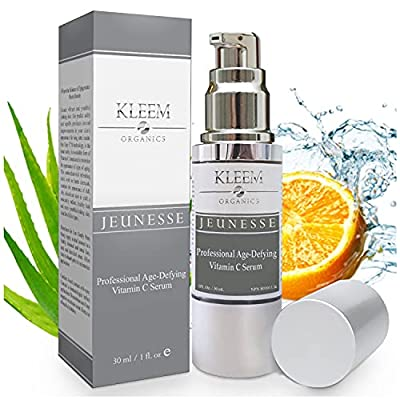 Kleem Organics Vitamin C Serum for Face with Hyaluronic Acid & Vitamin E   Natural Anti Aging Face Serum   Best Anti Wrinkle Facial Serum   Acne Spot Treatment and Dark Spot Corrector for Face [1 oz]