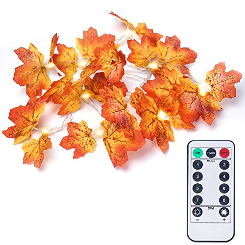 OMGAI Fall Maple Leaf String Light con telecomando temporizzato, impermeabile decorazioni del Ringraziamento alimentato a batteria ghirlanda per feste di festa in interni ed esterni (40 LED)