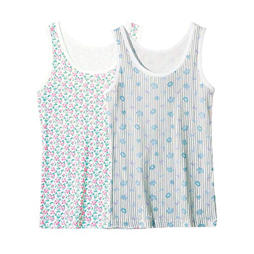[ベルメゾン] タンクトップ ガールズ 2柄 セット 胸元二重 インナーシャツ 綿100% ジュニアインナー 通学 お花とティアラ(ブルー系) 130
