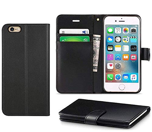 DN-Technology iPhone 7 Case, iPhone 8 Case, iPhone 7/8 Phone Cover, [Real Leather Flip Case] [Book Wallet Case] [Magnetic Closure Card Holder Case] [Shockproof Case] (iPhone 7/8, BLACK)