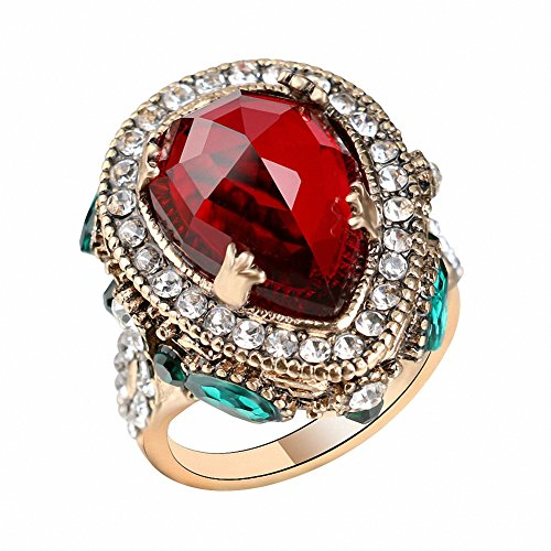 BiLiBiLi Jewelry Vintage Wedding Band for Women Red Crystal Antique Gold Color Punk Party Cocktail Ring (8)