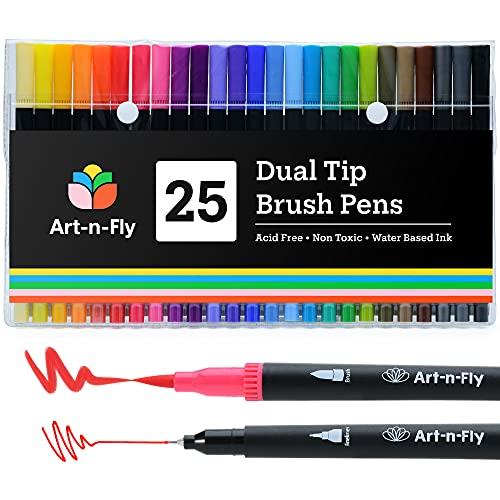 Rotuladores Punta Fina y Punta Pincel de Colores – Set 25 Rotuladores Doble Punta para Colorear y Dibujar