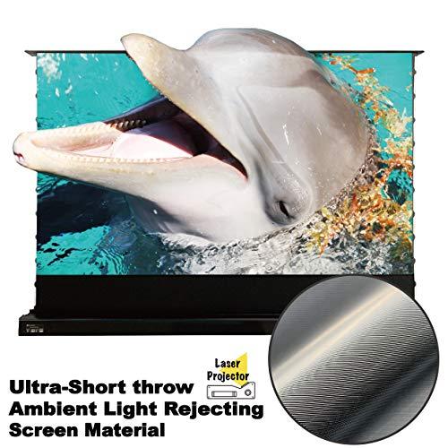 Vividstorm Motorisierte Projektionswand für 4K Ultra Short Throw Laserprojektor, 92 Zoll Diag 16: 9, Ultra-Short-Throw-Umgebungslichtunterdrückung, Drahtloser Projektor-Auslöser.