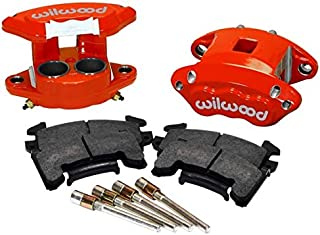 NEW WILWOOD RED D154 GM METRIC BRAKE CALIPERS & PADS, FRONT, 2 PISTONS, FOR 1.04