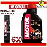 Motul 7100 10w40 olio motore moto 4 tempi litri 6 + OMAGGIO MC Care C1 Chain Clean