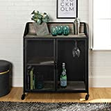 Walker Edison Furniture Company Industrial Wood and Metal Bar Cabinet with Wheels Wine Glass and Bottle Kitchen Storage Shelf, 33 Inch, Grey Wash