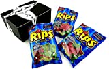 Rips Strawberry & Green Apple Bite-Size Licorice Pieces, 4 oz Bags in a BlackTie Box (Pack of 3)