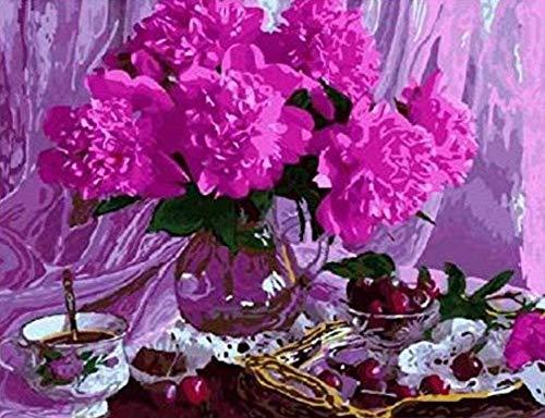 Diy Kersenbloemen Chocolade Stilleven Foto's Schilderen op nummer Schilderen en kalligrafie Kleuren op nummer Op canvas 40x50cm Frameloos