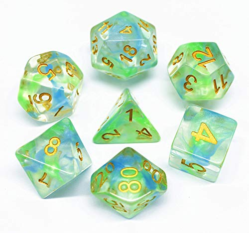 Polyhedral Dice Sets DND Game Dice for Dungeons Dragons(D&D) Role Playing Game(RPG) MTG Pathfinder Table Game Board Games Dice Flowing Series Double Color Transparent Dice (Green-Blue)