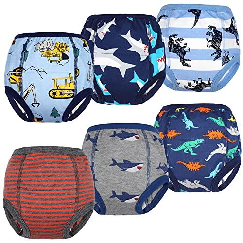 Flyish Packung mit 6 Baby Trainingshosen Töpfchen Unterwäsche Kleinkinder Windelhosen Toilettentraining Unterwäsche Entzückende Tiermuster Trainingshose Jungen 4 Jahre