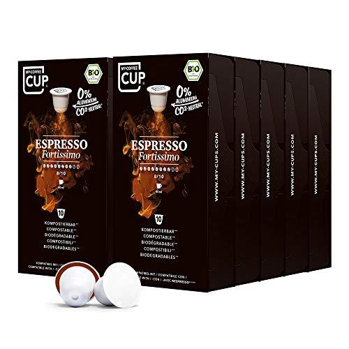 My-CoffeeCup – ESPRESSO FORTISSIMO – BIO-KAFFEE 10 PACKUNGEN I 100 Kaffeekapseln für Nespresso®*-Kapselmaschinen I 100{1f57c3b2814c231d1fb03aadf5e2288c268402e5b0461596f0df3d05c2f737c5} industriell kompostierbare Kaffeekapseln – 0{1f57c3b2814c231d1fb03aadf5e2288c268402e5b0461596f0df3d05c2f737c5} Alu I Nachhaltige Kaffeekapseln