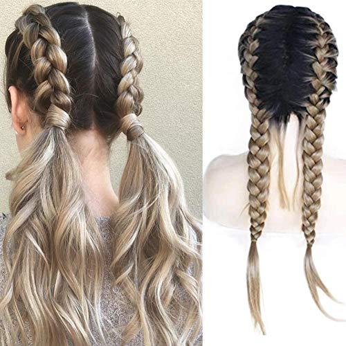 Peluca de trenza rubia con raíces oscuras doble trenza larga sintética trenzada con encaje frontal añade parte de tejido humano con cabello de bebé parte media trenzas rubias pelucas para mujeres de