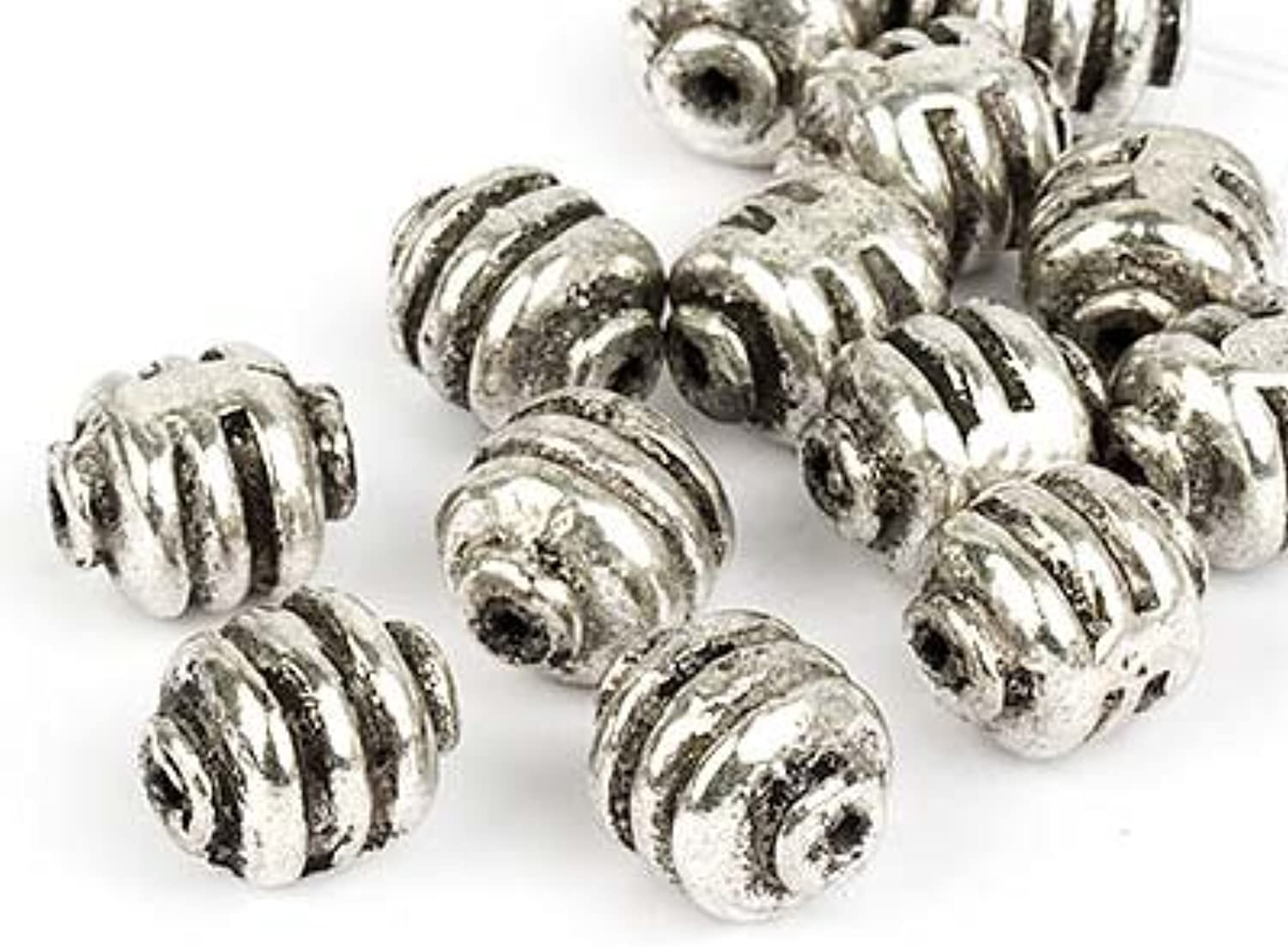 8Years.Fashion Jewellry Metal Beads to bead and to stitch on 12x14mm (Antique Style silver), 90 Pieces
