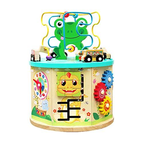 Giocattolo a forma di cubo, in legno, 12 attività, per bambini