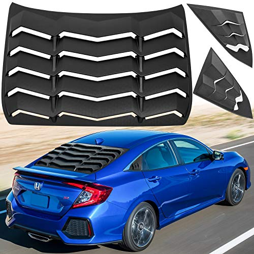 Bonbo Rear + Side Window Louver Windshield Sun Shade Cover ABS Fits for Honda Civic Sedan 4 Door 2016-2020 in GT Lambo Style Custom Fit (Matte Black)