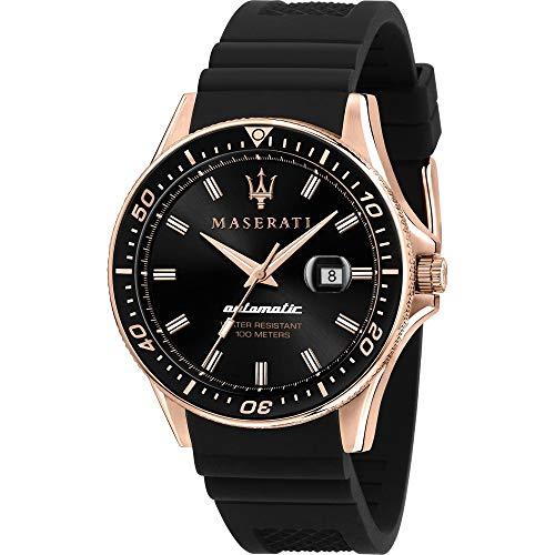 Maserati SFIDA 44MM Black DIAL - 10 ATM - herenhorloge met kunststofband, roestvrij staal IP rosé behuizing, automatisch, collectie 2020 - R8821140001