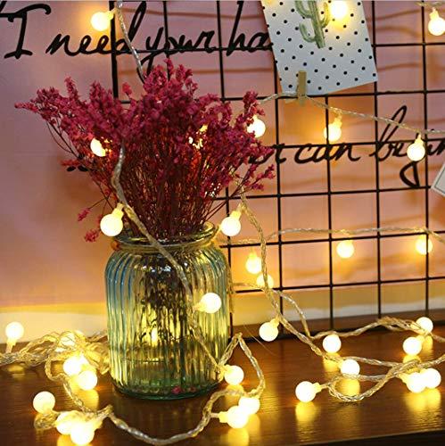 Luz solar LED Jardín al aire libre Cadena de luz Iluminación navideña Caja de batería impermeable al aire libre Cadena de luz Decoración navideña Cadena de luz de linterna Cadena (amarillo, 10m)