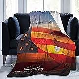 Mantas Memorial Day USA America Flag Honor Patriotic Ultra-Suave Manta De Microfibra para Sala De Estar, Manta De Tiro De 80 'x 60'