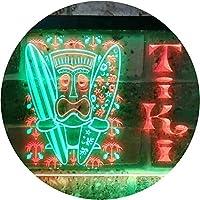Tiki Bar Surf Illuminated Dual Color LED看板 ネオンプレート サイン 標識 緑色 + 赤色 400 x 300mm st6s43-i0584-gr