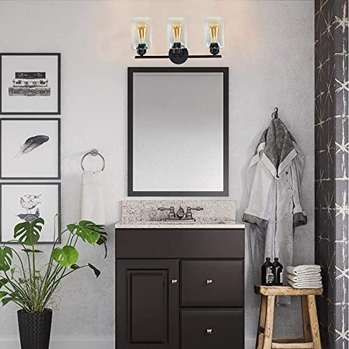 Espird 3 Light Bathroom Vanity Light Fixtures Black,Rustic Farmhouse Vanity Lighting Over Mirror Modern Industrial Wall Lamp with Cylinder Glass Shade