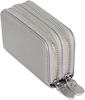 Anti-Scanning Leather Card Holder, Unisex Coin Purse Double Zipper Wallet,Coffee