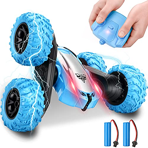 Remote Control Car, RC Cars Stunt Car, 4WD 2.4GHz Double Sided Rotating 360° Flips Vehicles, Drift High Speed Off Road Toys Car for Kids Age 6 7 8-12 Year Old Boy Toys Birthday Gifts-Blue (Blue-deep)