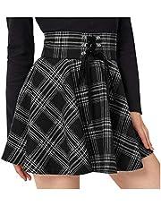 fexgaoo Damska sukienka w stylu Glencheck z wysoką talią Flare plisowana mini czarna spódnica
