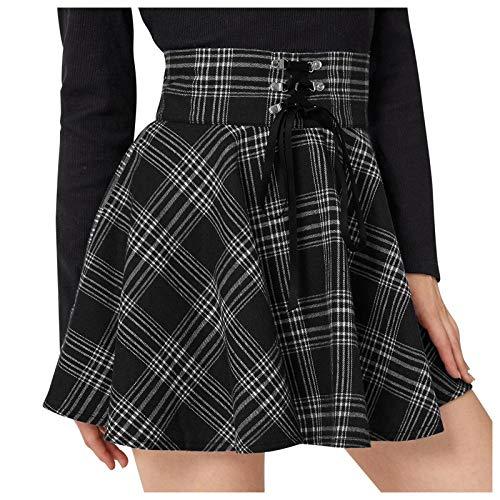 VEMOW Damen Mini spódniczka plisowana w stylu retro, w kratkę, uniwersalna, rozciągliwa, plisowana, minisukienka, dla dziewcząt, w stylu dziewczynki, na skater, spódniczka mini, na karnawał, tiulowa spódnica
