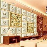 Hhkkckヨーロッパスタイルのグリッド彫刻花写真壁画リビングルームのテレビソファの背景モダンなシンプルな家の装飾カスタム3D壁紙-160X120Cm