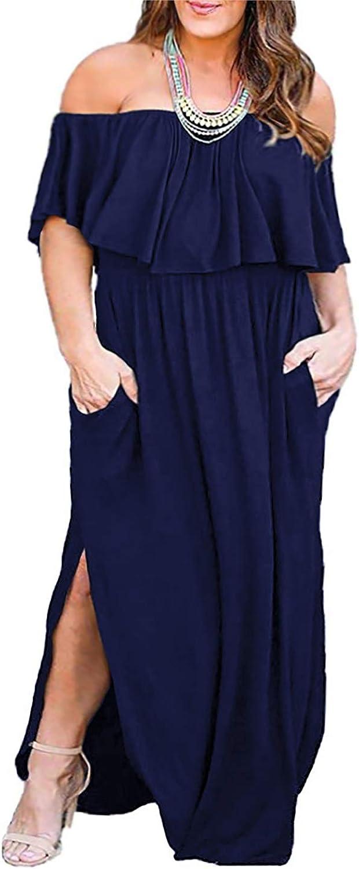 Nemidor Women's Upper Flounce Layer Off Shoulder Plus Size Slit Maxi Dress NEM200