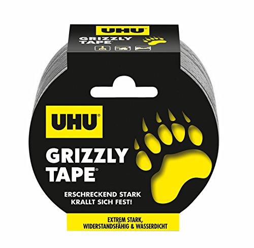 UHU Klebeband Grizzly Tape, Extrem starkes, wiederstandsfähiges & wasserdichtes Gewebeband, 5 cm x 25 m, silber