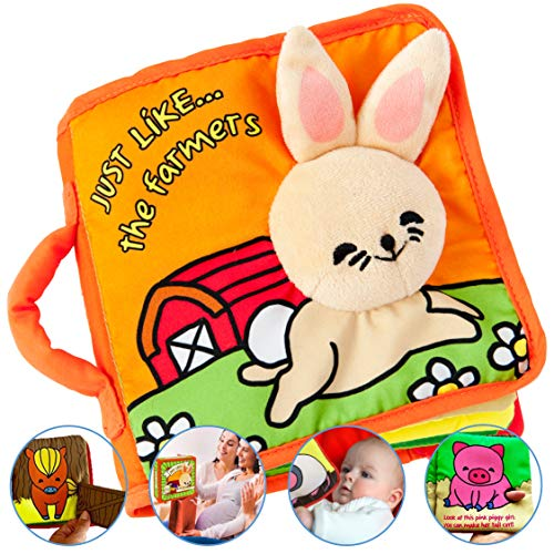 Premium Soft Baby Book First Year, Cloth Book Bunny with Crinkly Sounds, Fun...
