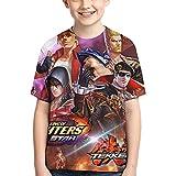 Hdadwy King of Fight-Ers, Camisa de Cuello Redondo para niños, Divertida Camiseta gráfica de Manga Corta, Camisetas de Manga Corta relajadas,...