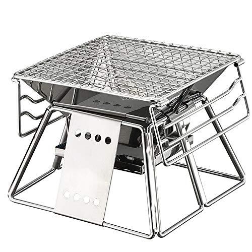 XBSD 7,4x7,4x7,4 Pulgadas Parrilla de carbón portátil para cocinar en el Camping con Bolsa de Transporte Pequeña Estufa de Barbacoa de Acero Inoxidable pequeña Barbacoa para Viajes
