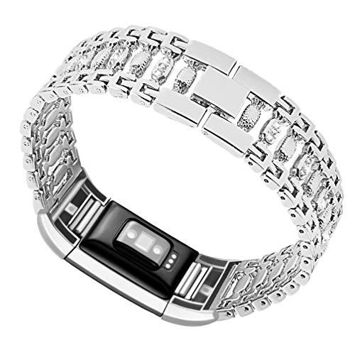 ibasenice Compatible con Fitbit Charge2 Band Strass Acero Inoxidable Correa de Reloj Smartwatch Correa de Repuesto para Mujeres Hombres Niñas Niños