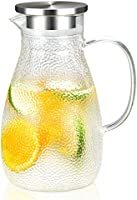 HIHUOS 1.8 Liters Glass Water Pitcher With Litchi Shape and Tight Stainless Steel Lid, Carafe With Long Comfortble...