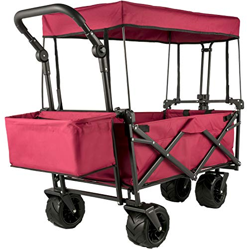 VEVOR 100KG Capacity Collapsible Wagon Cart Foldable Wagon Cart Removable Canopy 600D Oxford Cloth Collapsible Wagon Oversized Wheels Portable Folding Wagon Adjustable Handles for Beach Garden Sports