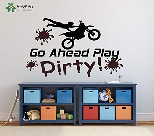 Muurtattoo vinyl motocross sticker ga verder spelen vuile moto fiets voor jongens kamer kunst decoratie moto81x50cm