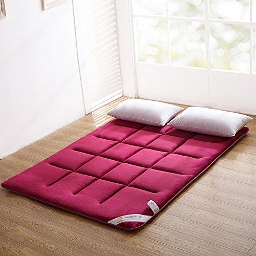 SATATAM Flanell, japansk golv-futon-madrass. Sovande dyna, matt matta, japansk sängrulle, vikbar rullande madrass, rullande säng shikibuton, bäddmadrass madrass-röd 90 x 200 cm (35 x 79 tum)