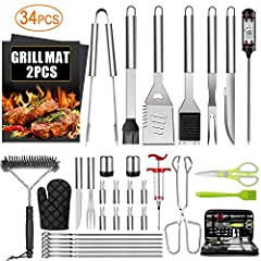 [PREMIUM STAINLESS STEEL]: Our grill accessories are made from premium food grade stainless steel, which is BPA FREE, durable, rust proof, unbreakable and dishwasher safe. And each long-handle BBQ tool has a convenient hanging loops that help you sto...
