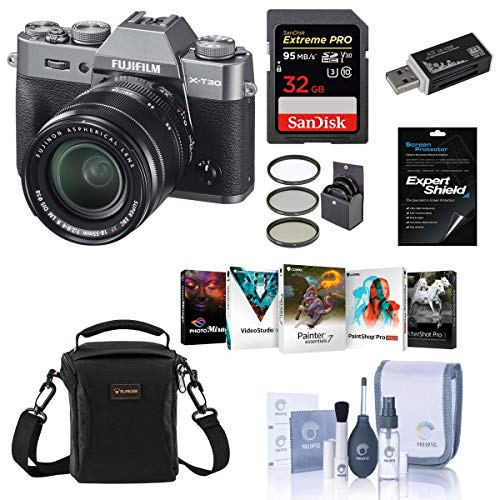 Fujifilm X-T30 Mirrorless Camera with XF 18-55mm f/2.8-4 R LM OIS Lens Charcoal Silver - Bundle with Camera Case, 32GB U3 SDHC Card, Cleaning Kit, Card Reader, 58mm Filter Kit, PC Software Package