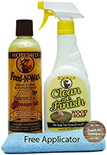 Howard Feed N Wax Wood Restorer and Beeswax Polish Plus Clean A Finish Wood Soap, Furniture Wax, Cabinets, Floors, Antiques, Teak Tables