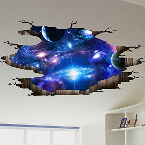 3D Sky Moon Ceiling Floor/Wall Sticker, FriendGG Removable Mural Decals Vinyl Art Living Room Bathroom Kitchen Window Glass Decors Waterproof Decals DIY Home Decor (D, Blue)