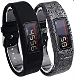 NEO+ Reino Unido Vendedor, Nueva Banda de reemplazo para Garmin Vivofit 2/No Tracker, Set of 2: Black, Silver Patterned