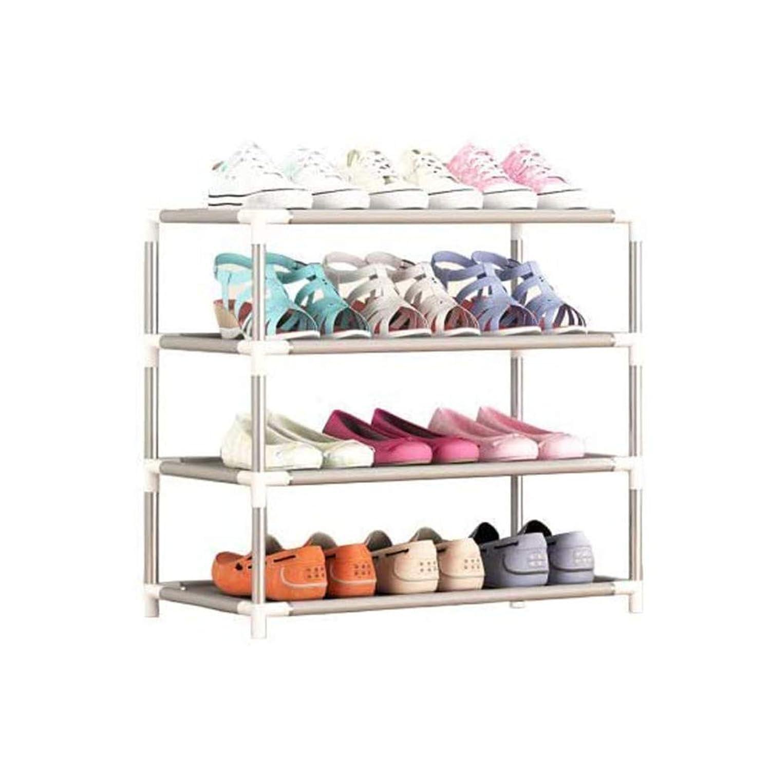 修羅場平方引き出すTIANYOU 靴箱 4階 シューズラック 保管棚 ストレージオーガナイザー スタッカブル 靴オーガナイザー 洋服ラック 組み立てが簡単 それは靴の12組を収容することができます Stapelbox