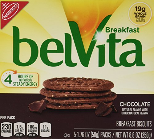Belvita Whole Grain Chocolate Breakfast Biscuits (2 boxes of 5 servings each)